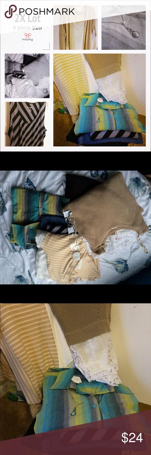 2X 7 Piece Bundle / Lot The Bundle Includes:   1. Cato Knit Sweater / Size 18/20 2. Coral Bay Blouse / Size 2X 3. Erika Ombre Button Down Blouse / Size 2X 4. Just Love Striped Maxi Dress / Size 2X 5. Levis Signature Bootcut Jeans / Size 18 6. Avenue Black Shorts / Size 20  7. Turquoise Necklace       Please Message Me For a Tailored Bundle Your Size. 5 Pieces = $20 Other