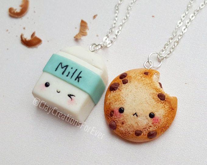Collar BFF galleta y leche, collar de la amistad, collar de galleta, miniatura alimentos joyería, mejor amigo llavero, collar Kawaii