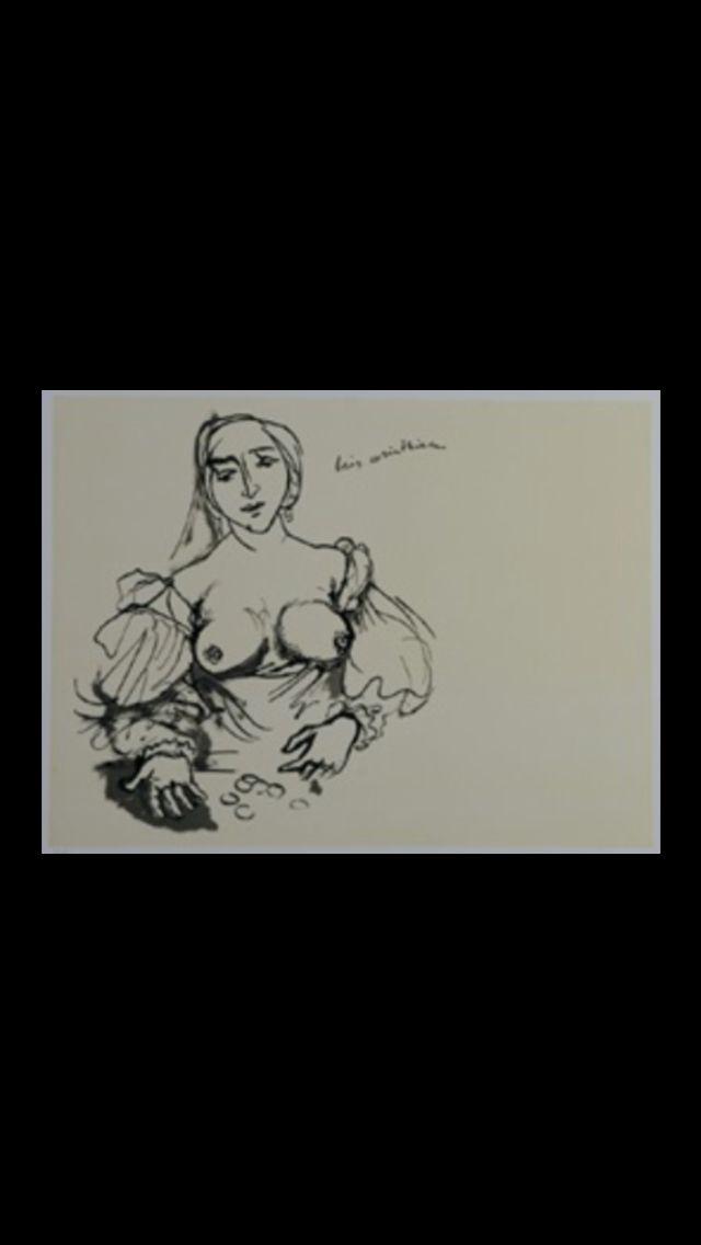 """Renato Guttuso - """" Omaggio a Holbein il Giovanni """", 1982 - Lithograph - 46 x 61 cm"""