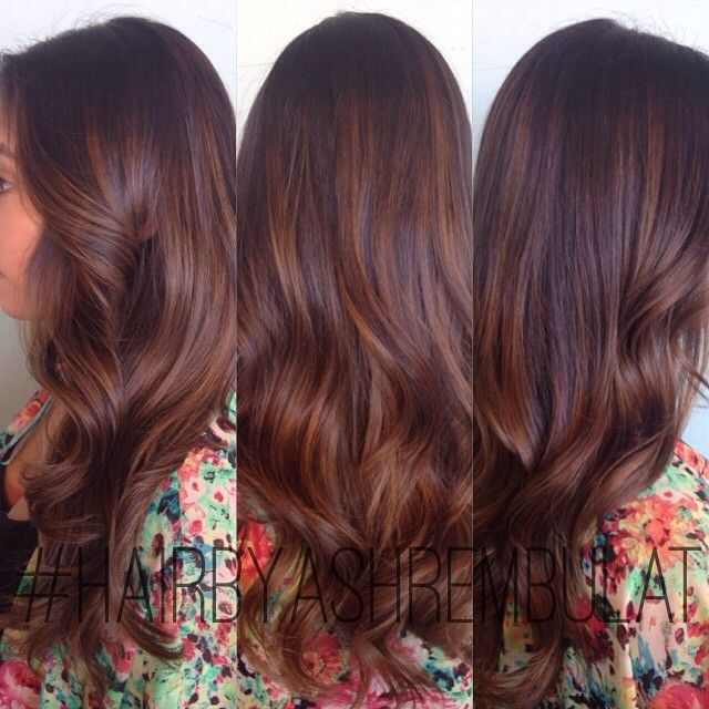 Warm dark brown balayage by Ashley Rembulat #hairbyashrembulat