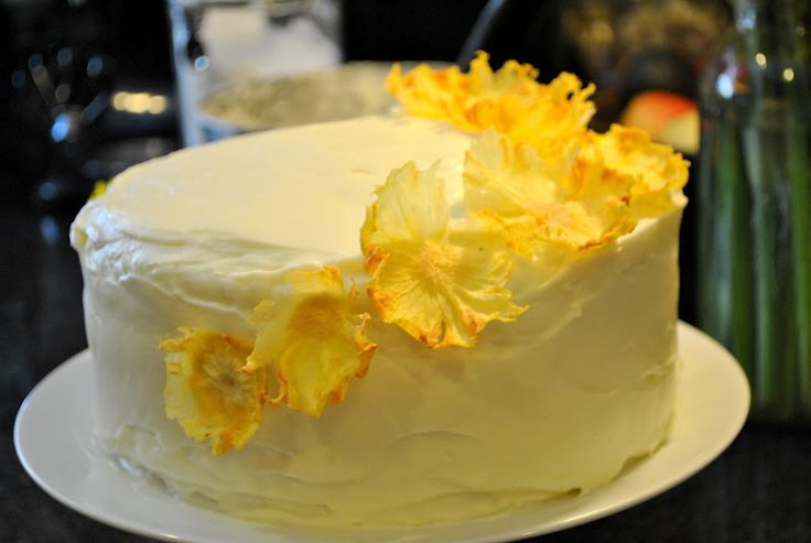 my kaotic kitchen: carrot cake w/ cream cheese frosting and pineapple flowers