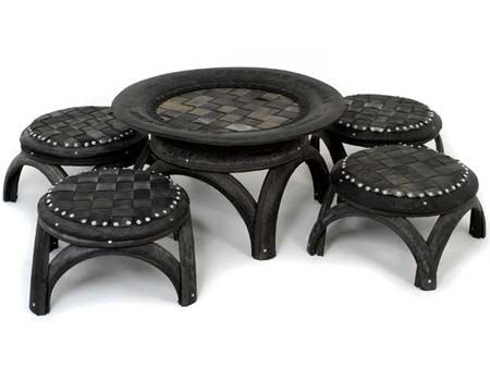 perfect for the patio, the garden, it is recycled tires! awesome