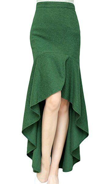 AvaCostume Women's Irregular Lotus Leaf Mermaid Fish Tail Long Skirt