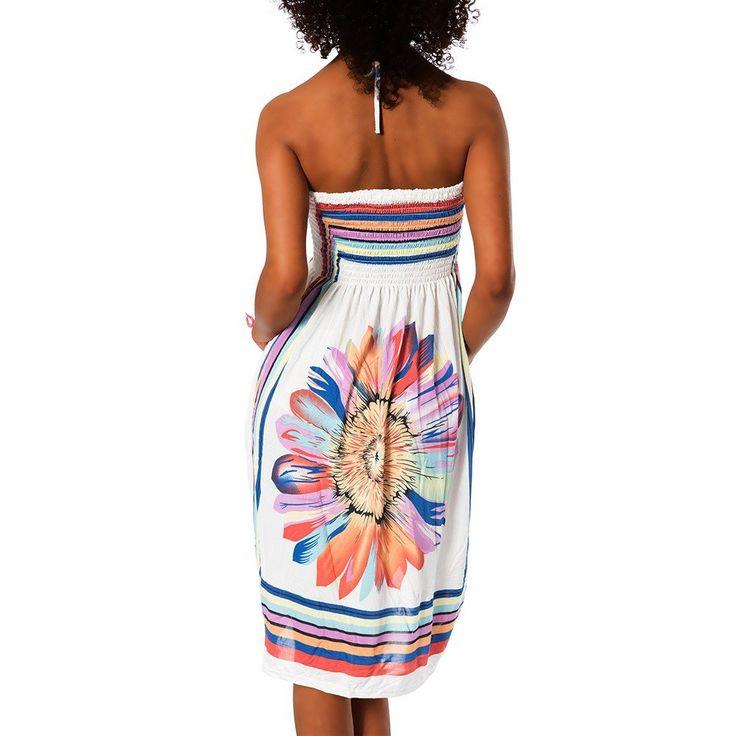H112 Damen Sommer Aztec Bandeau Bunt Tuch Kleid Tuchkleid Strandkleid Neckholder, Farben:F-020 Blau;Größen:Einheitsgröße: Amazon.de: Bekleidung