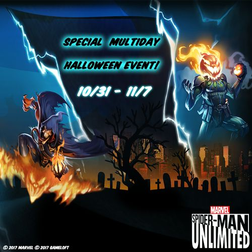 This is Halloween, this is Halloween. Swing into action and compete in our holiday event. Spider-Man Unlimited, October 2017