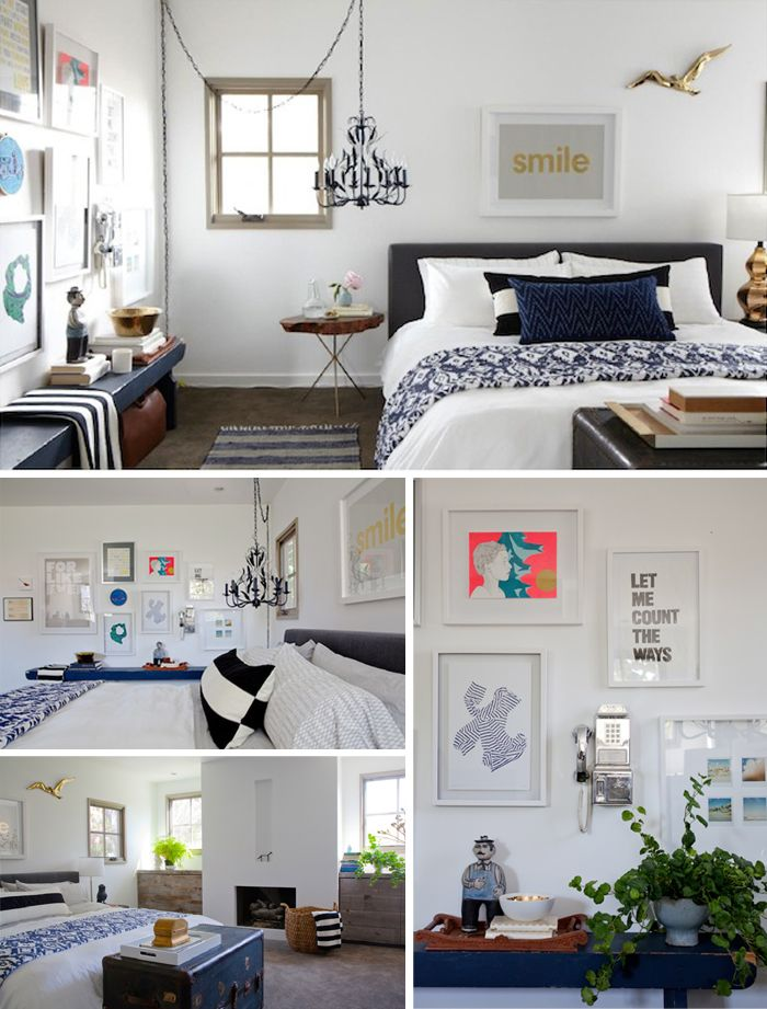 Bedroom makeover from Emily Henderson....I like the gallery walls and art above bed.  http://stylebyemilyhenderson.com/blog/studio-city-house-part-5-the-master-bedroom/....artwork above bed is from:  http://www.thecalmgallery.com/