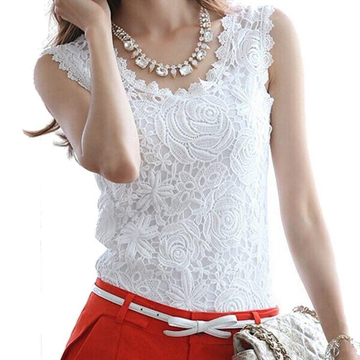 Blusas femininas 2016夏ファッション女性ブラウスレースエレガントなノースリーブブラックホワイトrendaかぎ針編みカジュアルシャツトップスプラスサイズ