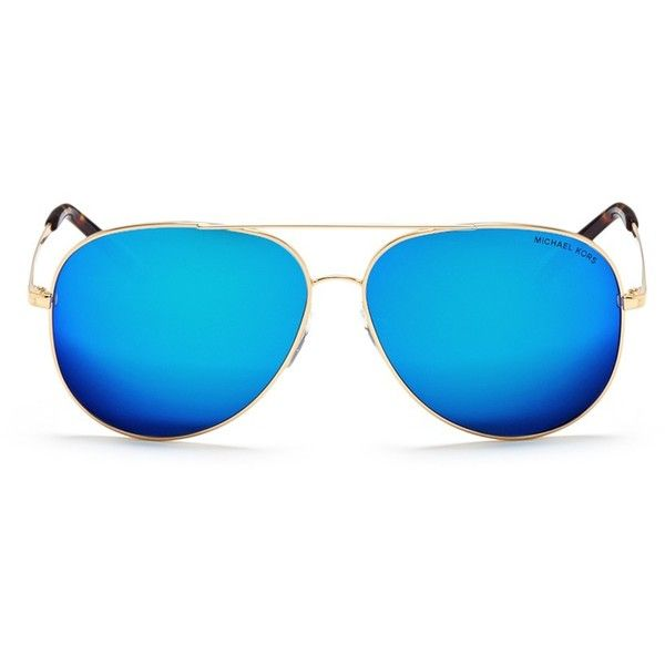 Michael Kors 'Kendall I' metal aviator mirror sunglasses (255 CAD) ❤ liked on Polyvore featuring accessories, eyewear, sunglasses, blue, mirror aviators, mirror aviator sunglasses, blue mirror sunglasses, mirrored aviators and mirrored aviator sunglasses