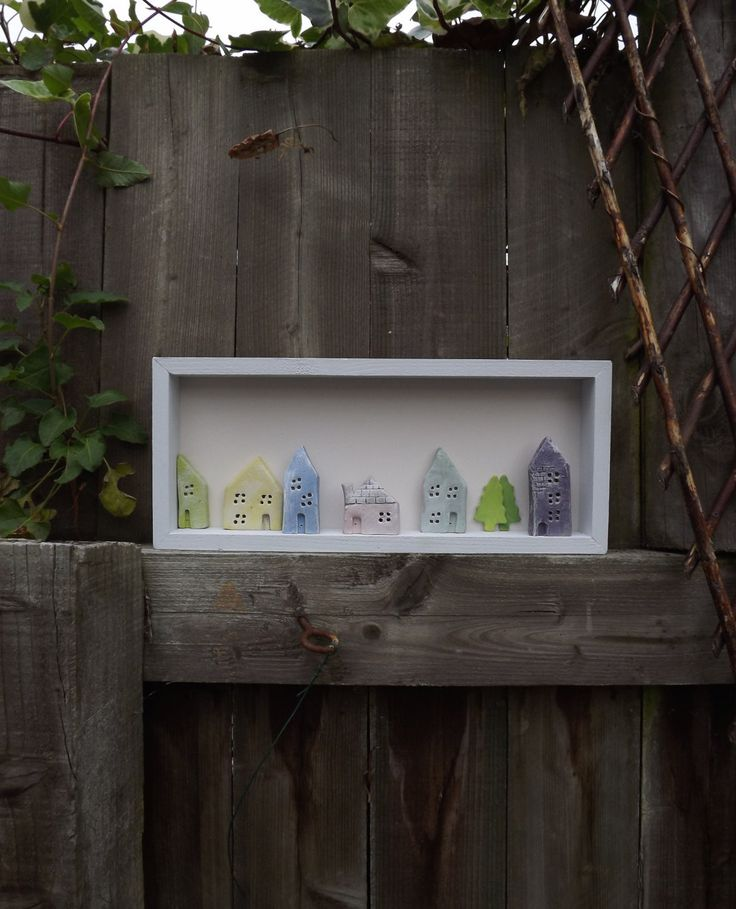 Original framed clay wall art, six tiny coloured houses and two trees in a pale blue wooden frame. by Margesgallery on Etsy