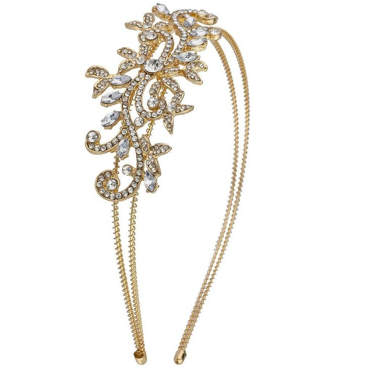 Lux Accessories Goldtone Vintage Flower Vines Bridal Bride Hard Bling Headband *** Read more reviews of the product by visiting the link on the image. (This is an Amazon affiliate link)