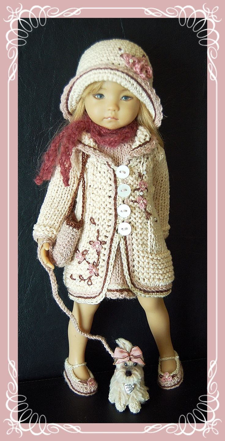 """Outfit for EFFNER LITTLE DARLING DOLL 13 """" + Shoes and Dog crocheted"""