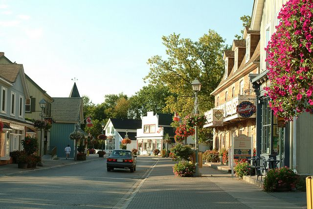 The Main Street of the Village of Unionville in The City of Markham. Unionville is a heritage conservation district and home to many restored 19th and 20th Century buildings.