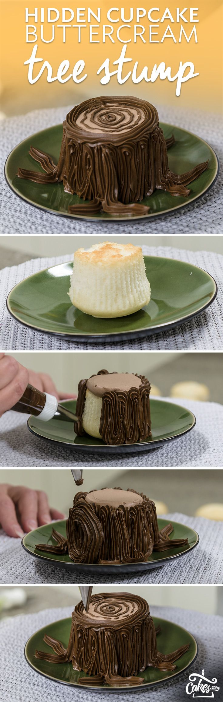 Surprise - there's a cupcake hidden inside this buttercream treat stump.