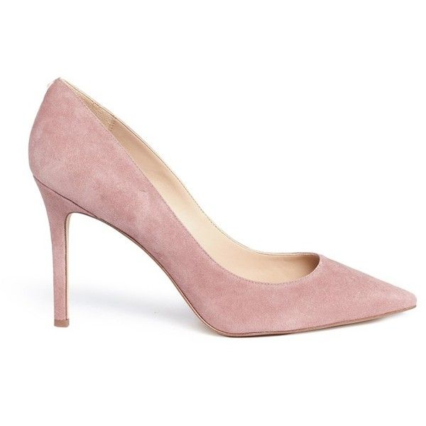 Sam Edelman 'Hazel' suede pumps (7.780 RUB) ❤ liked on Polyvore featuring shoes, pumps, pink, pink suede shoes, suede pumps, sam edelman pumps, high heeled footwear and pink high heel shoes