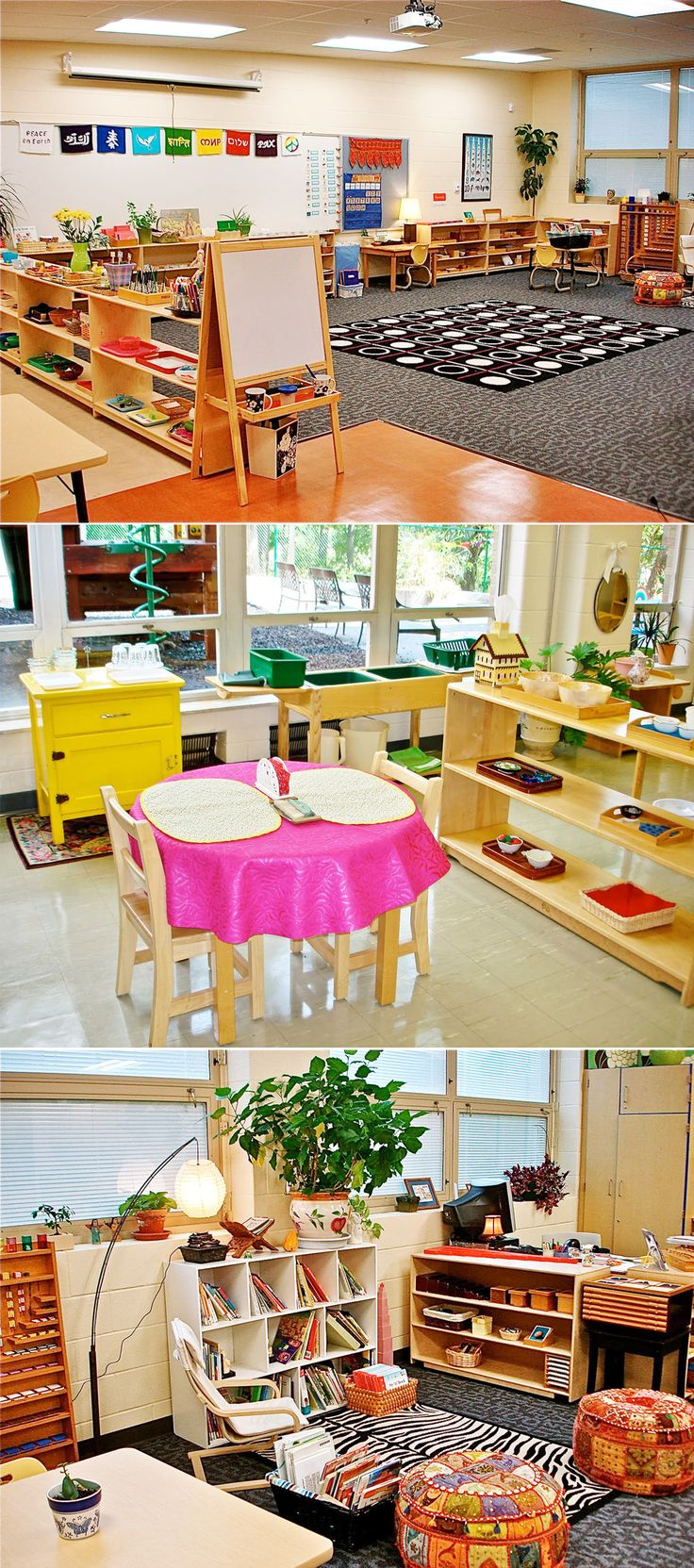 "Temper your jealousy, teachers. One can always dream. 1. A Polka Dot and Daisies Themed Classroom schoolgirlstyle.com 2. An Uber-Organized Classroom thecreativechalkboard.blogspot.com 3. A ""Modern Rustic"" Classroom justanightowl.com See more gorgeous photos here. 4. An Apple Orchard Themed Classroom schoolgirlstyle.com 5. A Comfy Reading Den and Meeting Place tunstalltimes.blogspot.ch 6. Sunlight-Drenched Toddler Montessori Classroom thenaturalchildlearningcommunity.com …"