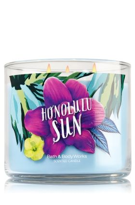 """Honolulu Sun - 3-Wick Candle - Bath & Body Works - The Perfect 3-Wick Candle! Made using the highest concentration of fragrance oils, an exclusive blend of vegetable wax and wicks that won't burn out, our candles melt consistently & evenly, radiating enough fragrance to fill an entire room. Topped with a flame-extinguishing lid! Burns approximately 25 - 45 hours and measures 4"""" wide x 3 1/2"""" tall."""