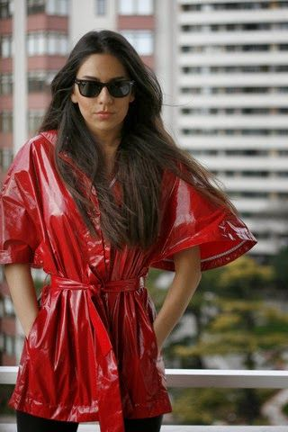 Red shiny raincoat Lackmantel   raincoat