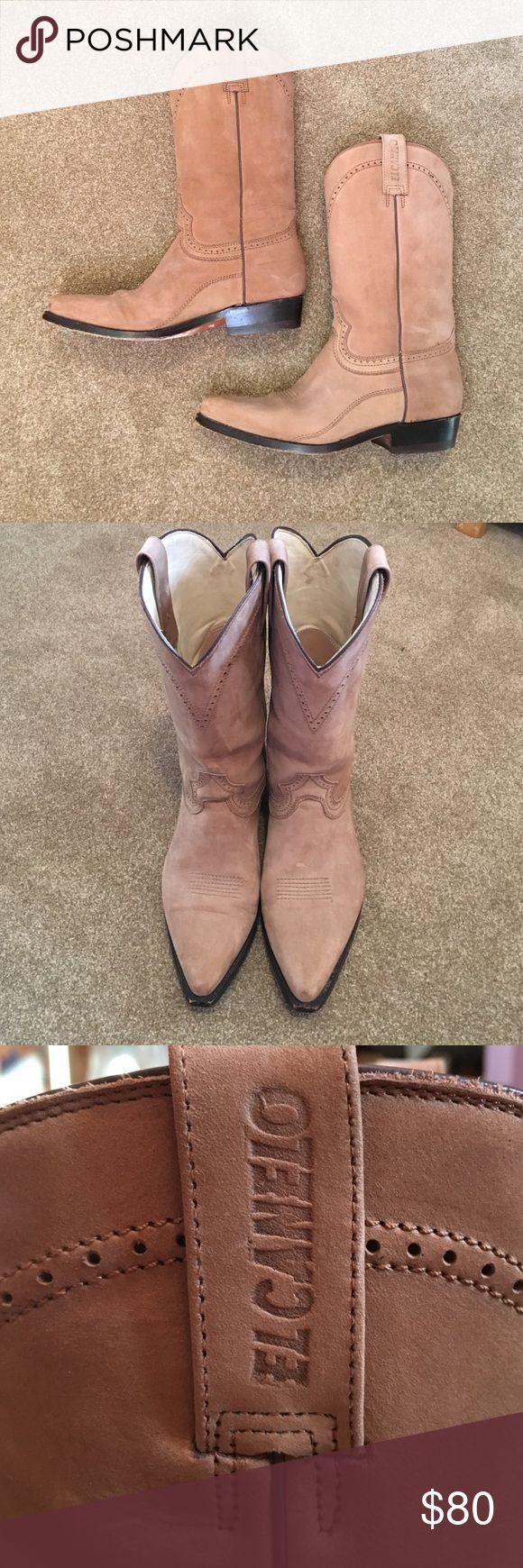 cowboy boots Tan suede boots el canelo Shoes
