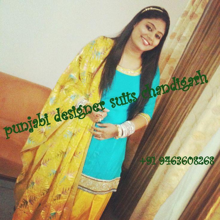 Punjabi Designer Suits Chandigarh.  Blue and Yellow contrast. Yellow Phulkari. Punjabi Patiala Salwar Kameez