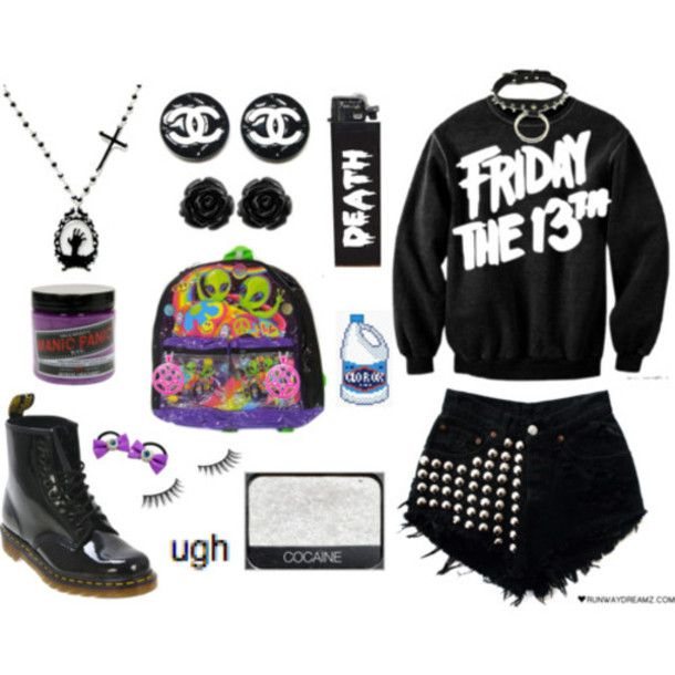 Sweater: clothes, goth, punk, pastel goth, grunge, studs, girly grunge, sweatshirt, tumblr, jewels - Wheretoget