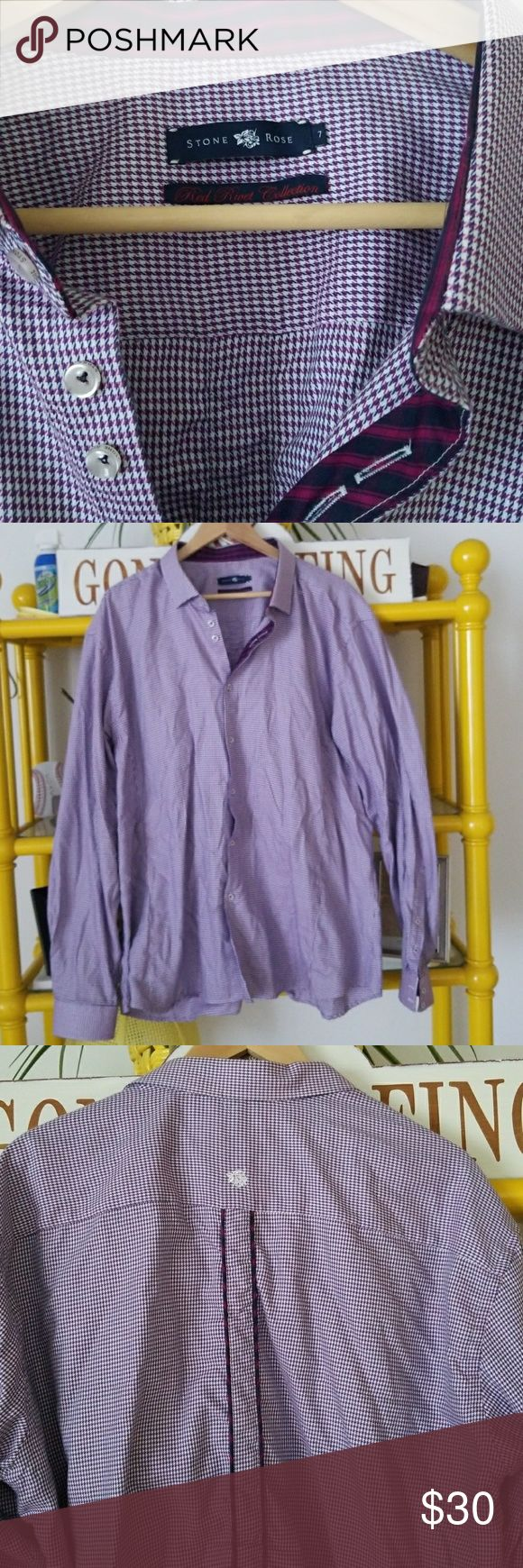 Great Button Down Shirt for date night Stone Rose button up, navy blue and pink, great details with cuffs, inner button area and neck and down back of shirt. Stone Rose Shirts Casual Button Down Shirts