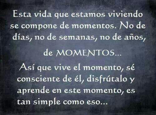 Esta vida que estamos viviendo se compone de momentos,no dias,no de semanas,no de años. ¡MOMENTOS! Vive el momento,ser consciente del momento,disfrutar del momento,aprende de este momento,es tan simple como eso.