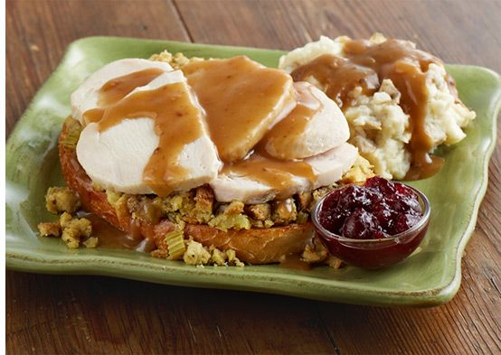 Open-faced Hot Turkey Sandwich: Fresh roasted turkey, apple sage stuffing and our signature turkey gravy over grilled sourdough bread. Served with fresh mashed potatoes. $9 all day!  #Turkey #Deals #MarieCallenders