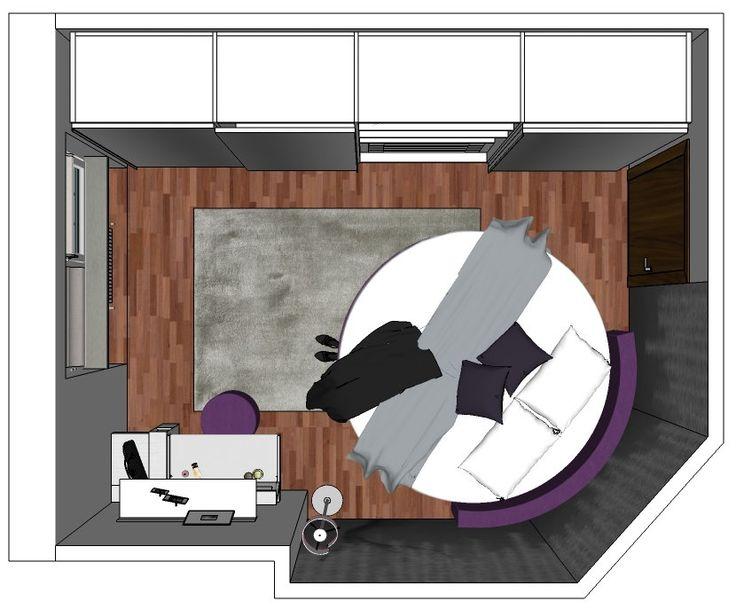 camera letto piccola e cabina a vista   Il progetto di Chiara #2: come inserire un letto rotondo in una camera ...