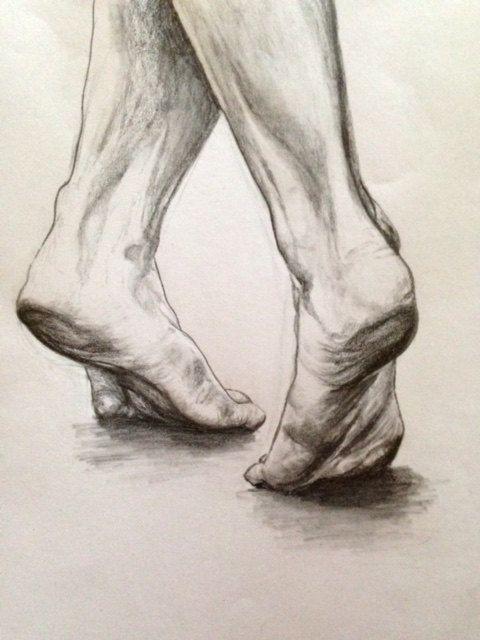 Print of drawing of dancing feet.