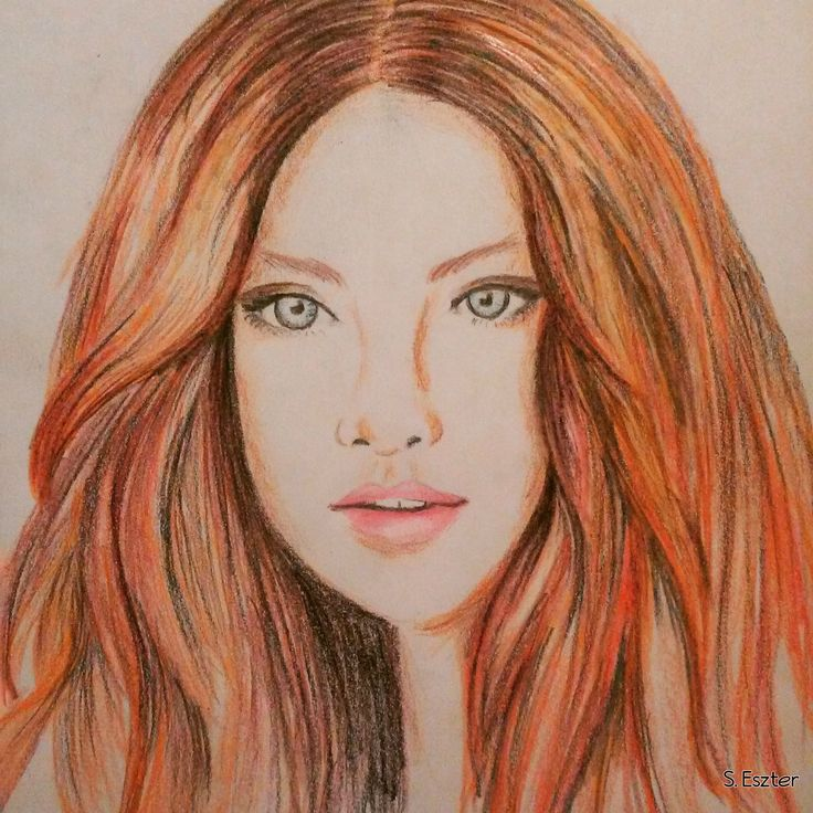 red hair woman drawing - colored pencil