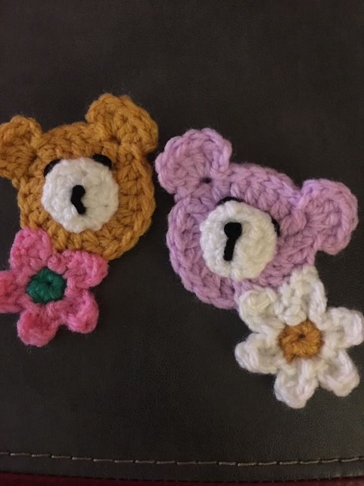 2 Teddy Bears Appliqué  Crochet Flowers Attached suitable for granny Squares  | eBay