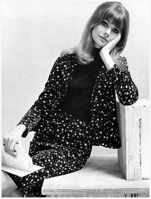 Wearing a printed cord velvet suit by Jean Muir for Jane and Jane, photo by John French, 1964