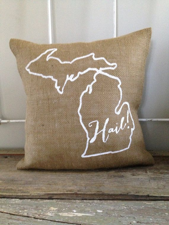 "Burlap Pillow - ""Hail"" University of Michigan pillow, University of Michigan…"