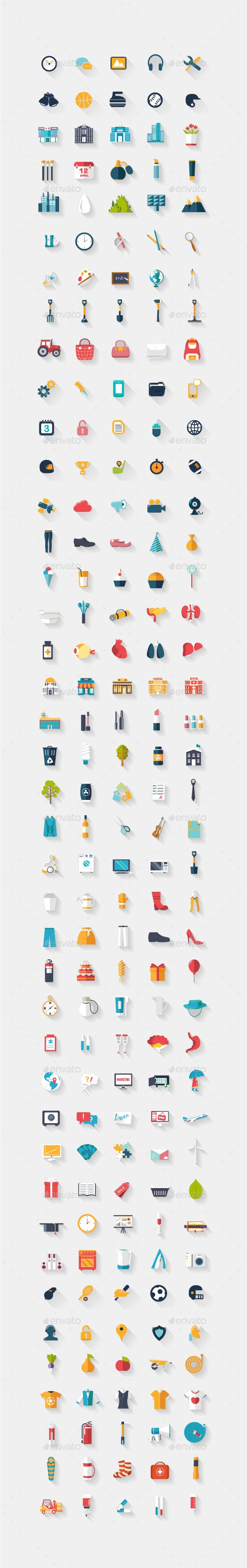 3d icons, Long shadow icon designs — Vector EPS #e-commerce #knowledge • Available here → https://graphicriver.net/item/3d-icons-long-shadow-icon-designs/18441477?ref=pxcr
