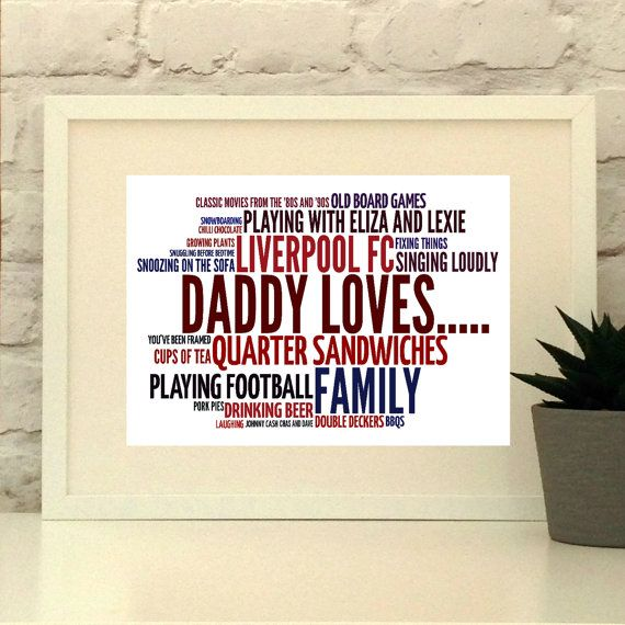 Daddy Loves Personalised Print   Bespoke design in your choice of words and colours.  Gift for Dad, Fathers day gift, Gift from child, present from children  Dad Grandad Grampy Pops  www.pepperdoodles.co.uk