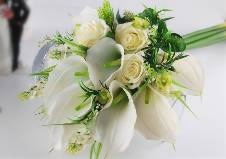 2pc Real Touch Extra Large Calla Lily Long Stem Rose Bridal Bouquet Boutonniere | eBay
