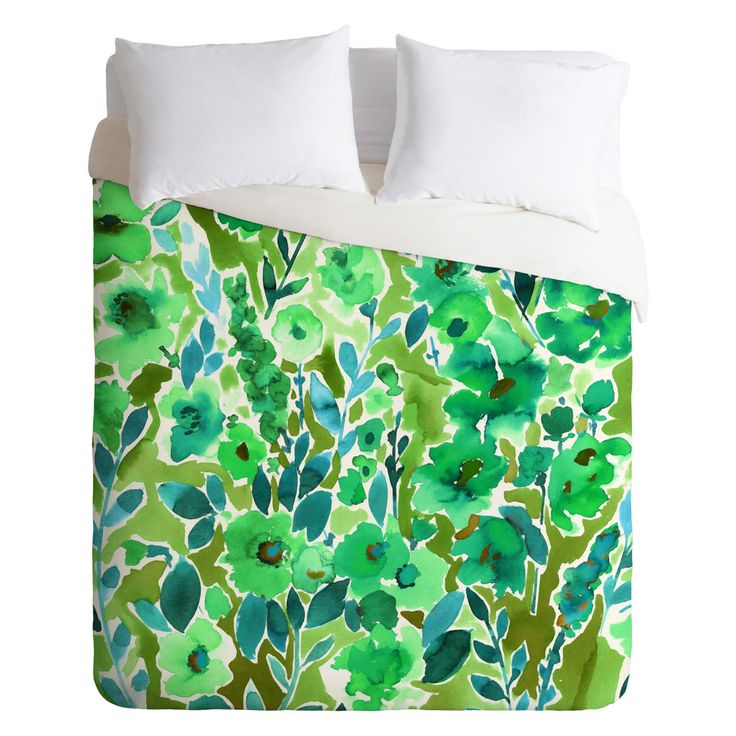Amy Sia Isla Floral Green Duvet Cover by DENY Designs - 62895-DLIKIN