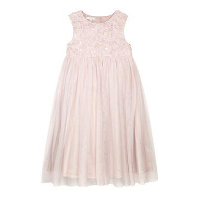 John Rocha Designer girl's light pink sequin floral bodice dress- at  Debenhams.