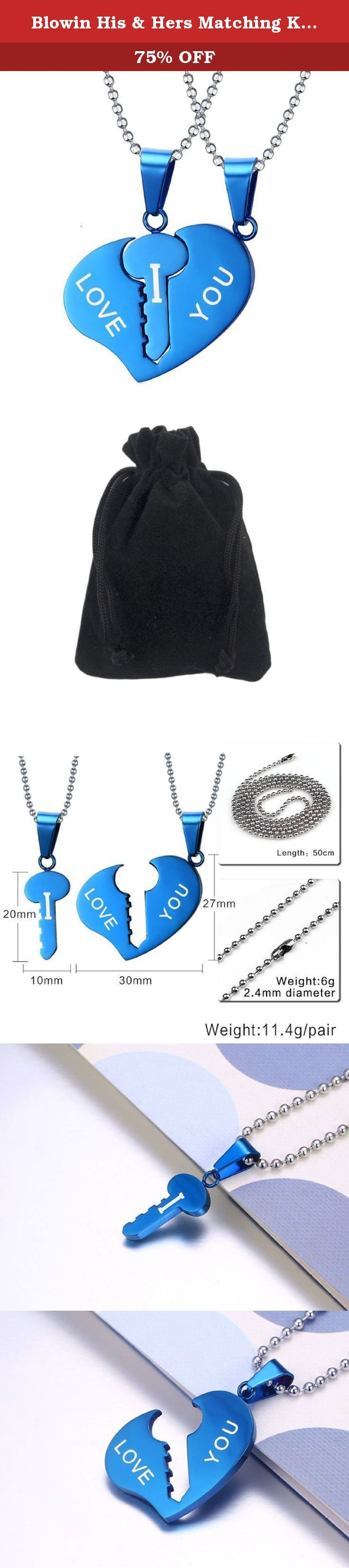 "Blowin His & Hers Matching Key to Heart Set Stainless Steel ""I LOVE YOU"" Valentine Couple Pendant Necklace, Blue. Blowin His & Hers Matching Key to Heart Set Stainless Steel ""I LOVE YOU"" Valentine Couple Pendant Necklace, Blue Material: Stainless Steel; Hypoallergenic Package Included: 2 x Blowin Stainless Steel Penant with 2 Free Chain 1 x Gift bag Features Stainless Steel Jewelry Green high-grade green jewelry - it is completely not produce any side effects on the human body. Never fade…"