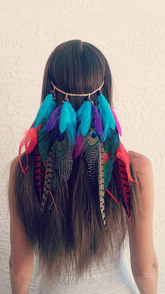Clip en colorido velo plumas venda nativo por dieselboutique