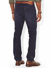 Pantalon en velours côtelé à cinq poches de coupe classique