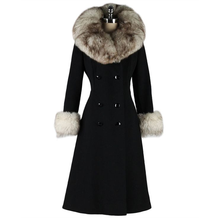 Vintage 1960's Black Wool Fox Fur Princess Coat   From a collection of rare vintage coats and outerwear at http://www.1stdibs.com/fashion/clothing/coats-outerwear/