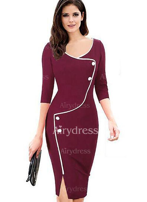 Dress - $22.84 - Polyester Solid Long Sleeve Knee-Length Elegant Dresses (1955121968)