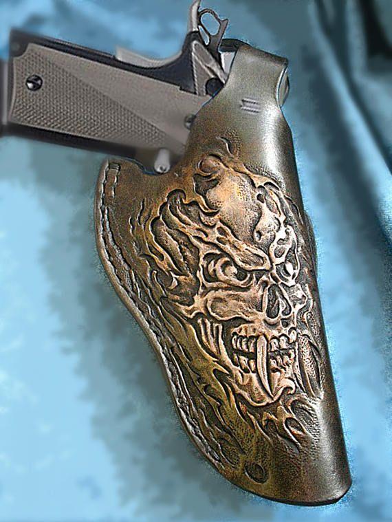 Tooled 1911 Holster thumb break body shield skull design
