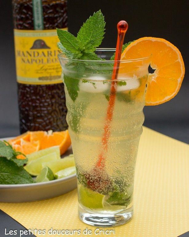 MANDARITO (rhum blanc, liqueur de mandarine, sucre de canne, menthe fraîche, citron vert, orange, eau gazeuse ou limonade, glaçons)
