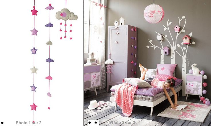 Chambre b b d coration nursery gar on fille baby bedroom for Photo decoration chambre bebe fille