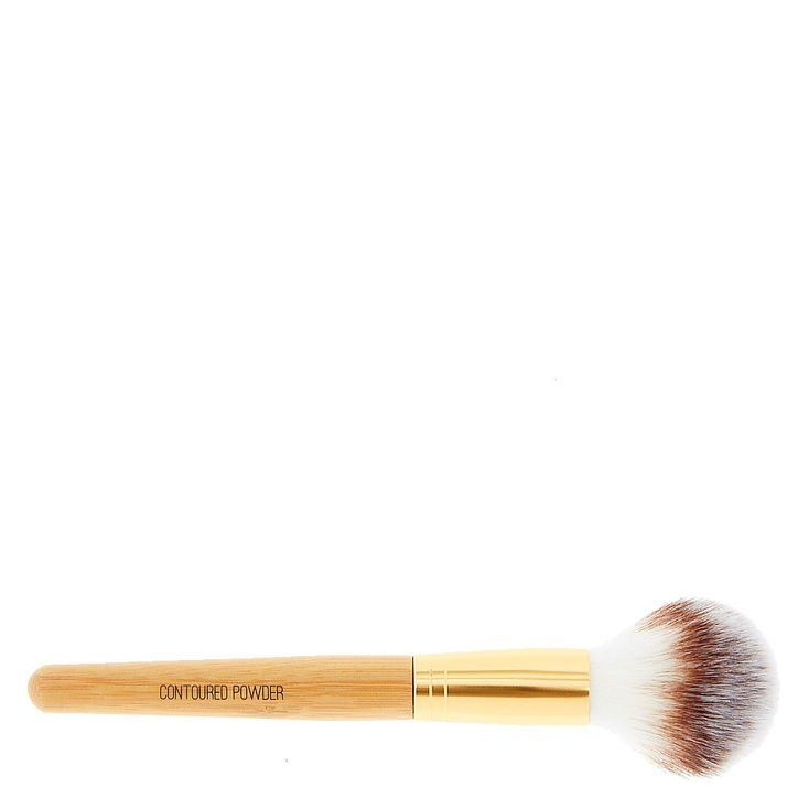 This powder brush is tapered  at the top so it's perfect for the contours of your face.. The bamboo handle gives it a natural look and feel.