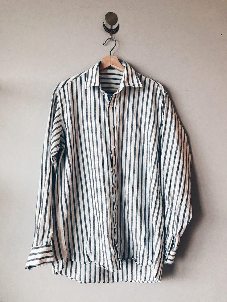 Navy Stripe Linen Button Up