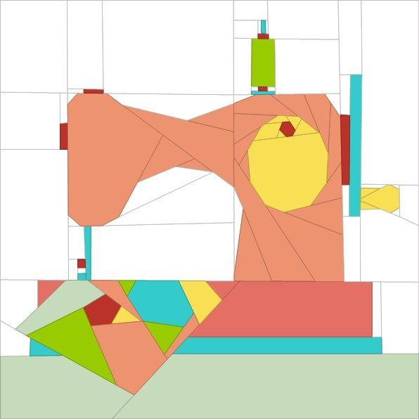 "Olde Sewing Machine - 12"" paper piecing patterns quiltartdesigns.blogspot.com"