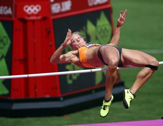 Nadine Broersen of Netherlands competes in the Women's Heptathlon High Jump on Day 7 of the London 2012 Olympic Games at Olympic Stadium, Aug. 3, 2012 in London. (Streeter Lecka/Getty Images)